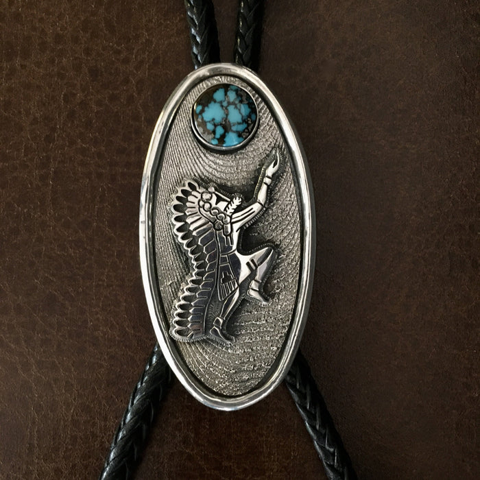 Hopi Bolo Tie, Bolo Tie by Gerald Lomaventema, Hopi Silver at Raven Makes Gallery