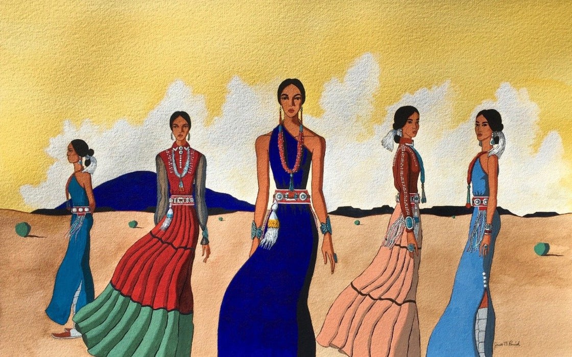 Painting by Navajo artist, Jason Parrish, at Raven Makes Native American Fine Art Gallery