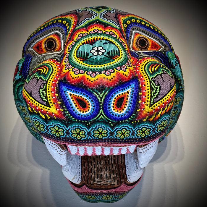 Jaguar Beaded Mask, Huichol Art, by Florencio Lopez