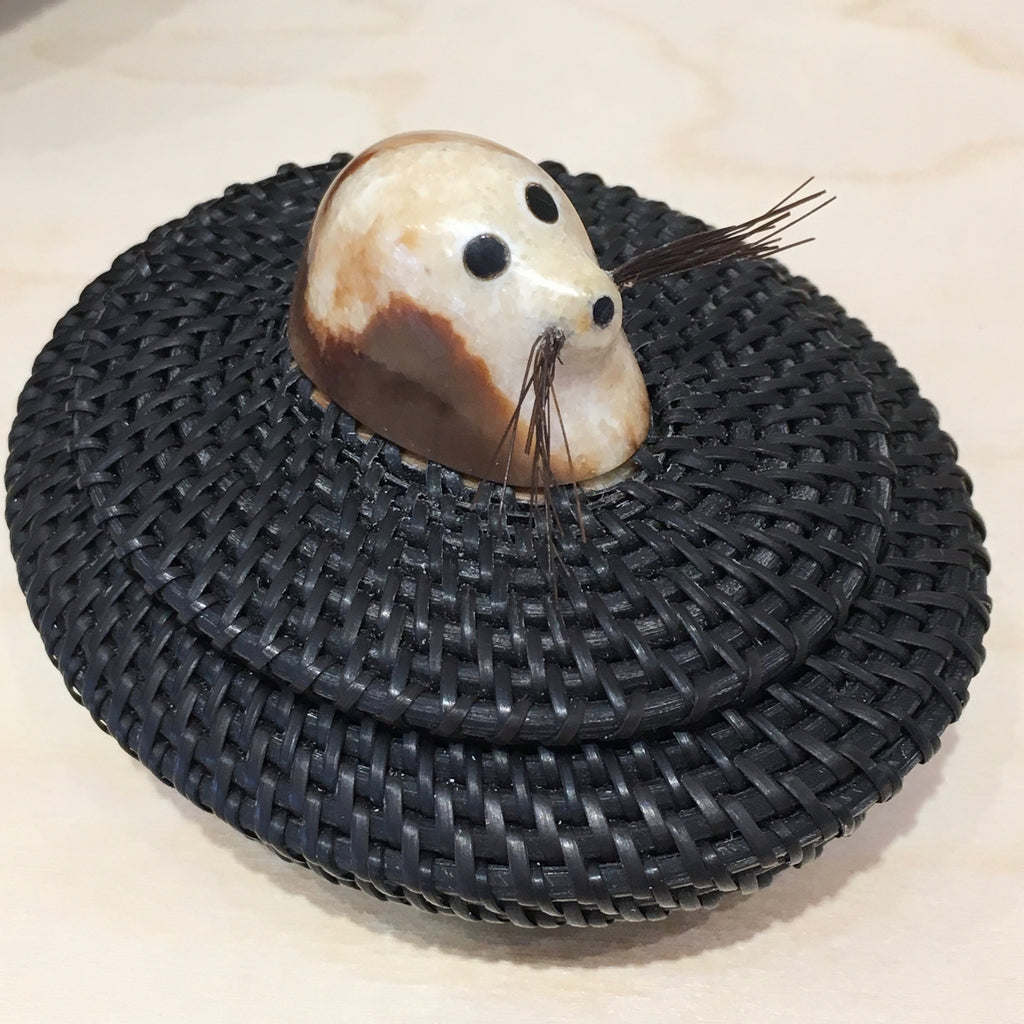 Baleen Basket with Seal, by Don Johnston
