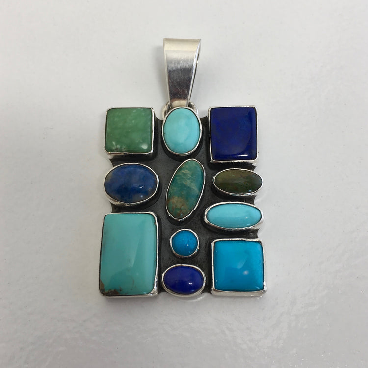 "Blue Stones ""Stained Glass"" Pendant, by Dee Nez"