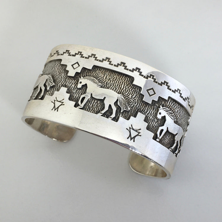 Sterling Silver Horses Cuff Bracelet, by Fortune Huntinghorse