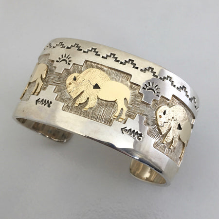 Golden Bison Cuff, by Fortune Huntinghorse, at Raven Makes Gallery