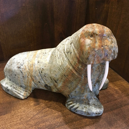 Walrus Carving, by Eric Tetpon III, Alaska Native Art at Raven Makes Gallery
