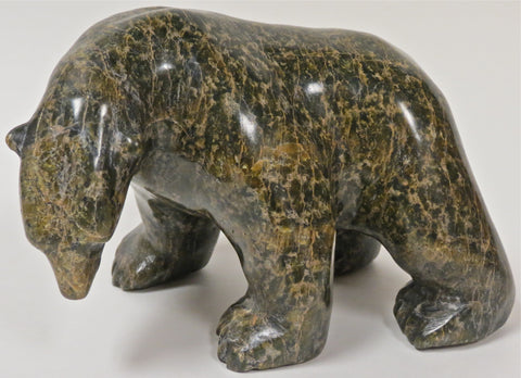 Inuit Serpentine Bear Carving, by Asunaa Kilabuk