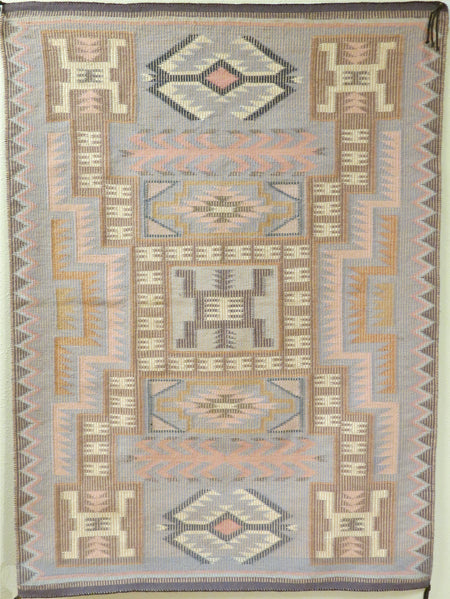 Coal Mine Mesa/Raised Outline Navajo Rug, By Marjorie Doug
