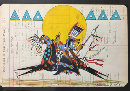 Ledger Art, by Terrance Guardipee, at Raven Makes Native American Fine Art Gallery in Oregon