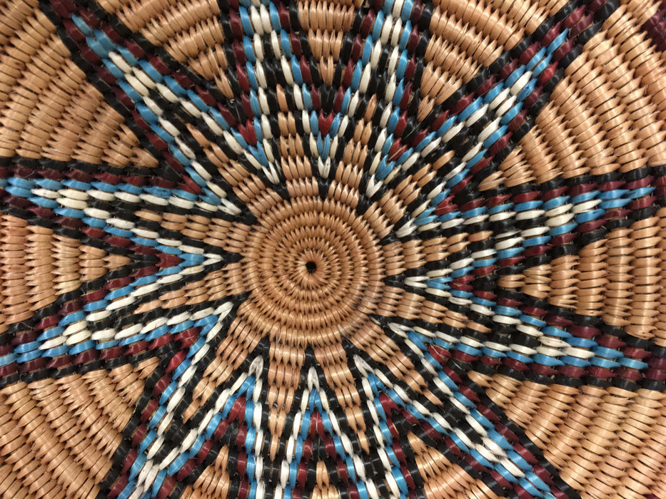 Blue Butterflies and Star Burst Navajo Basket, by Elsie Holiday