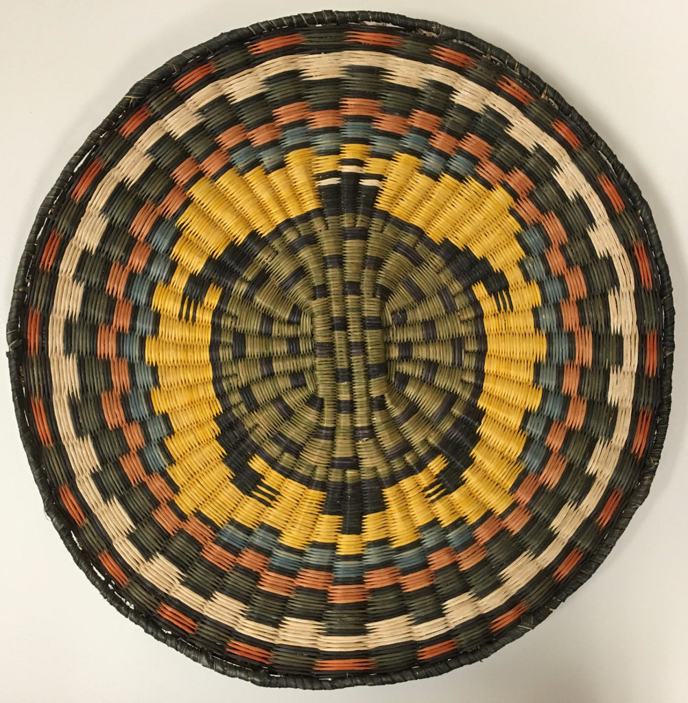 Hopi Wicker Basket/Plaque, Turtle Motif