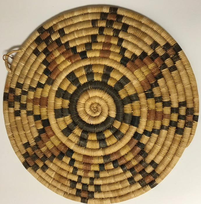 Vintage Eight Petals Polychrome Hopi Basket-Plaque