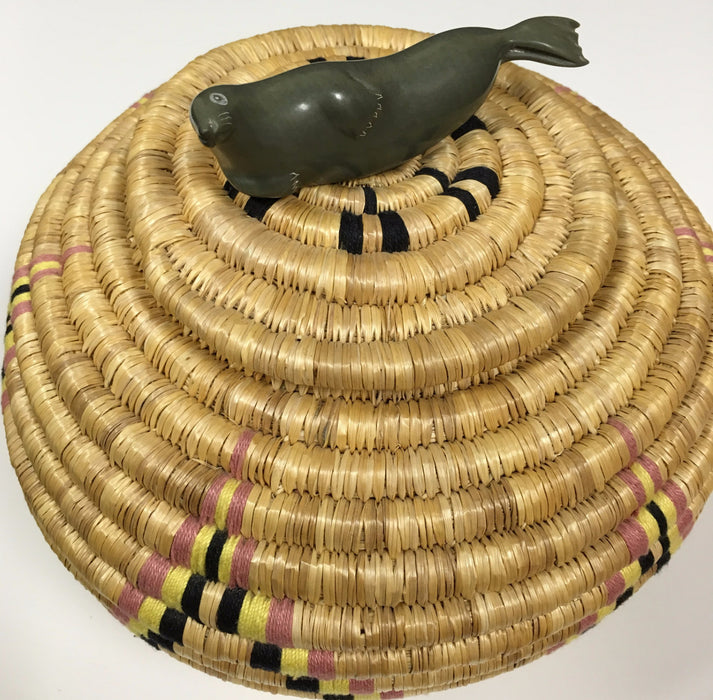Inuit Lime Grass Basket, by Annie Emikotaikluk