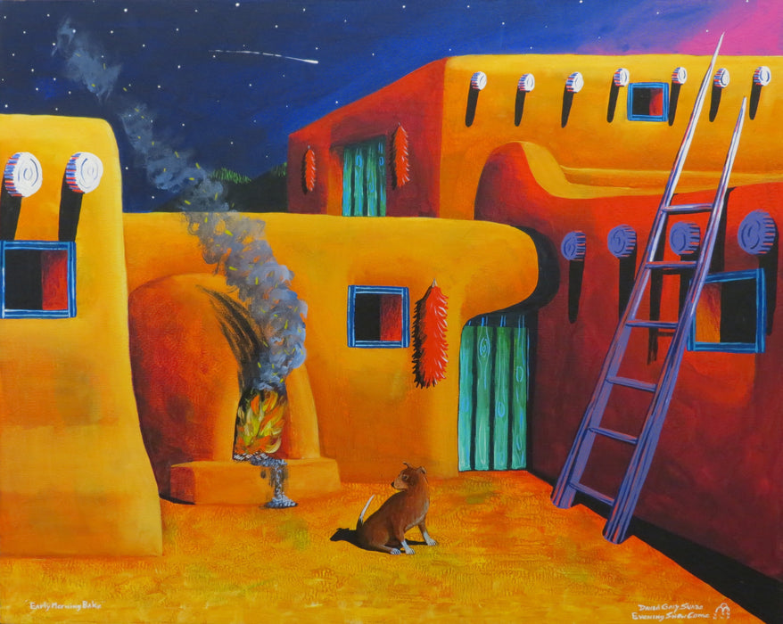 Taos Painting, Early Morning Bake, by David Suazo