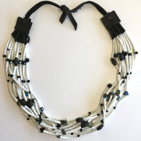 Dentalium, Black Beads and Abalone Long Choker Necklace, by Leah Mata