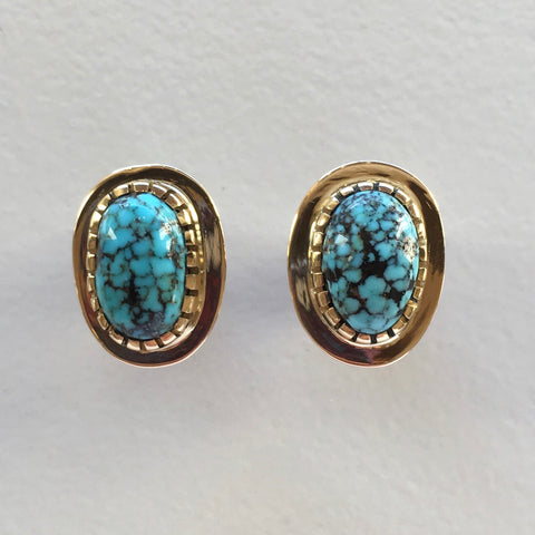 18k Gold Post Earrings with Nevada Blue Turquoise, by Sonwai