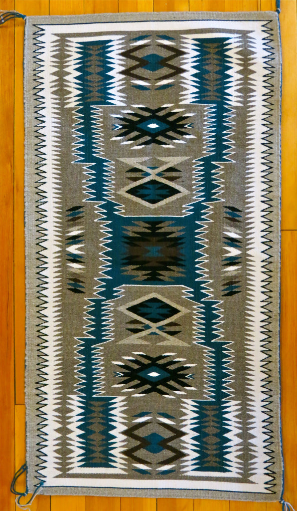 Dark Turquoise Storm Pattern Navajo Rug by Gabrielle Chester