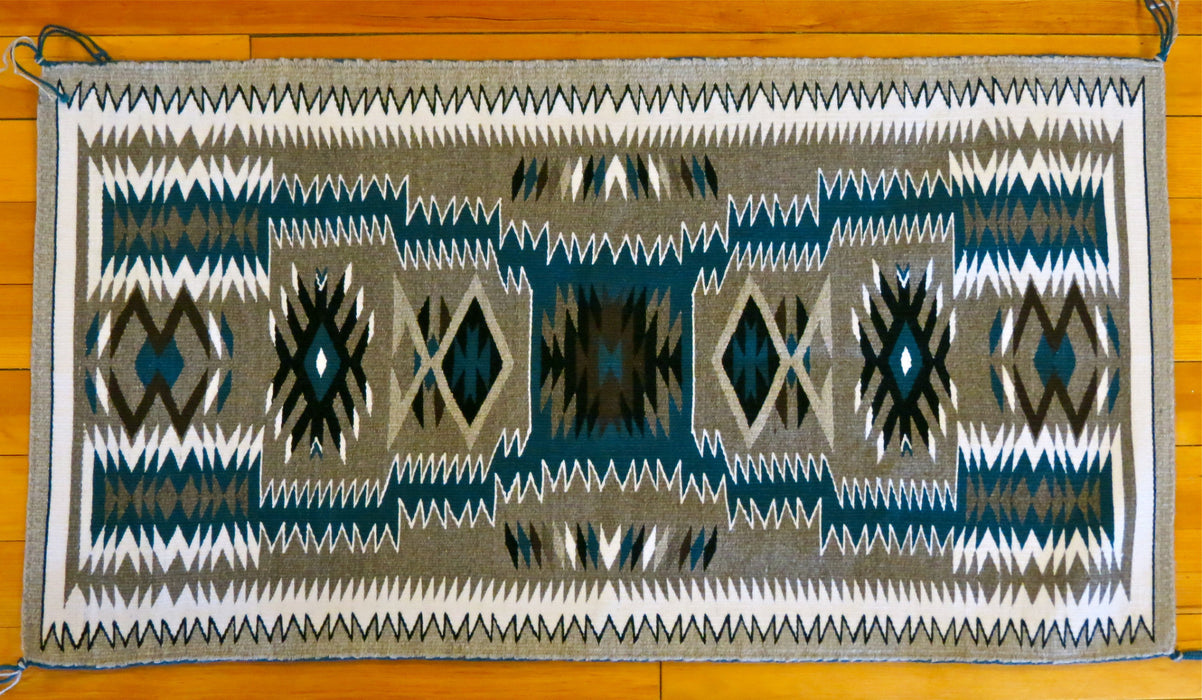 Dark Turquoise Storm Pattern Navajo Rug, by Gabrielle Chester