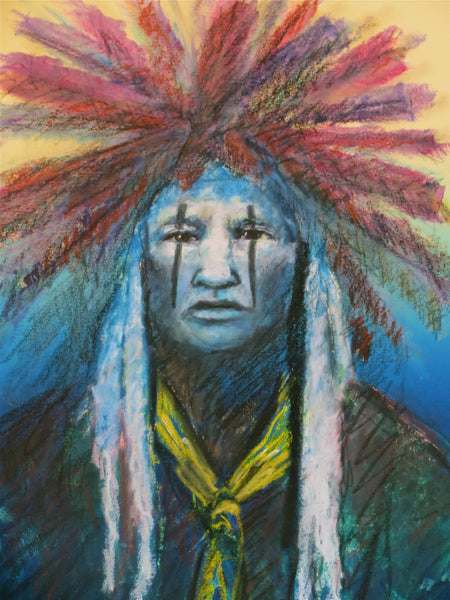 Headdress of Honor, American Indian Pastel Portrait, Raymond Nordwall