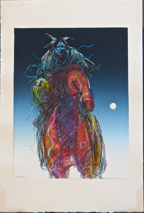 American Indian Rider and Horse, Moonlit Rider, by Raymond Nordwall