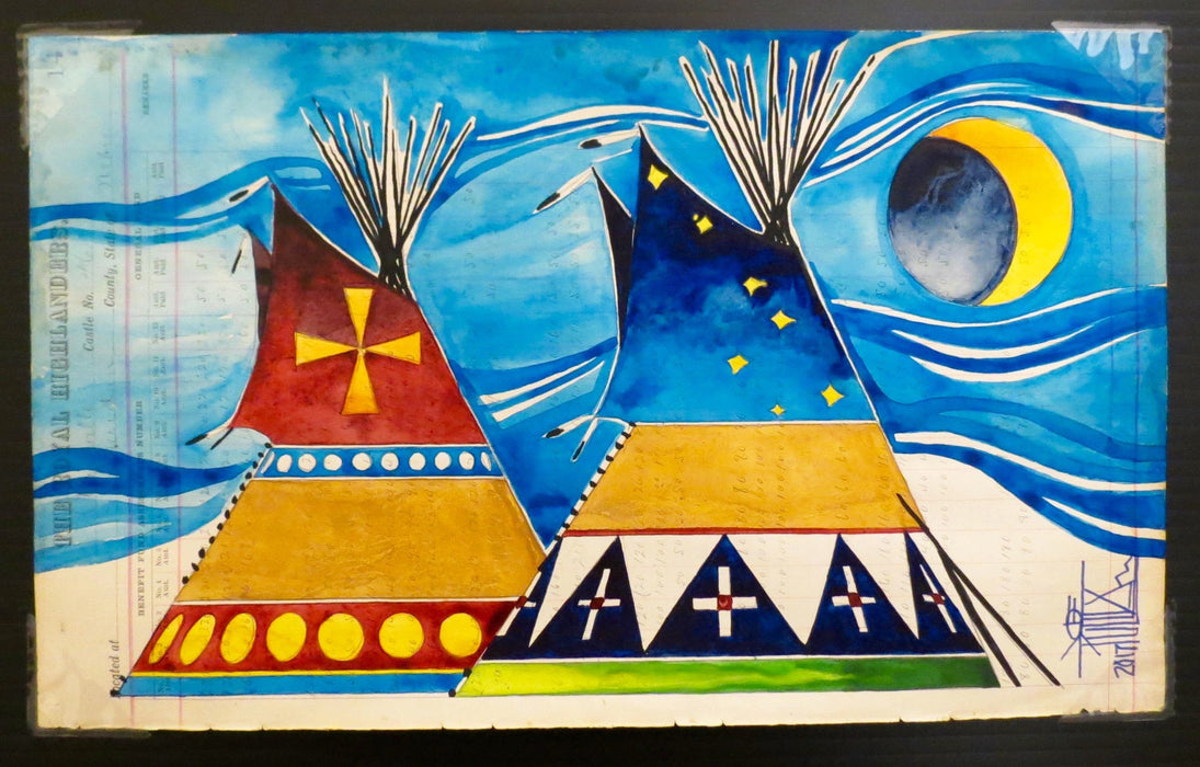 Winds of Change, Plains Ledger Art, by Joe Pulliam