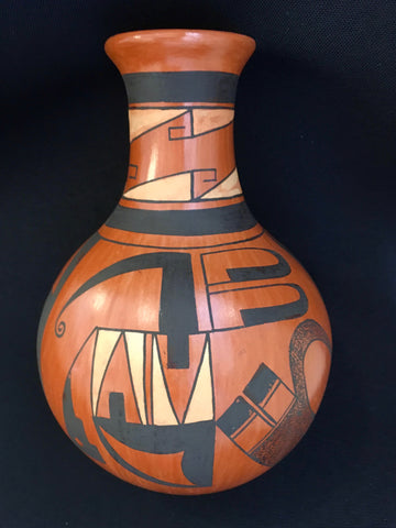 Lightening Hopi-Tewa Pottery Vase, by Dorothy Ami