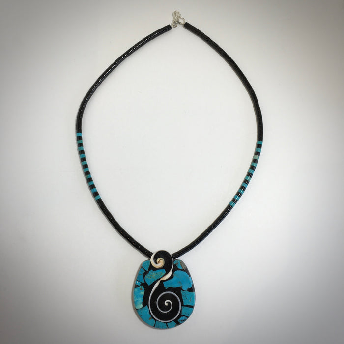 Swirls and Turquoise Mosaic Necklace, by Mary L. Tafoya