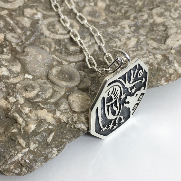 Bear and Star Shower Hopi Silver Necklace, by Ray and Dorothy Kyasyousie