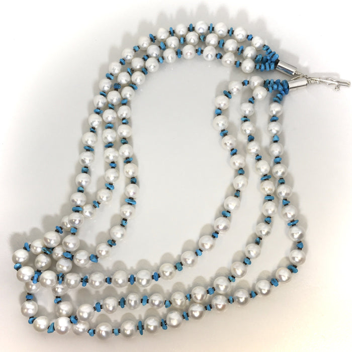 Pearls and Turquoise Necklace, Navajo Jeweler, Marie Lee at Raven Makes Native American Gallery