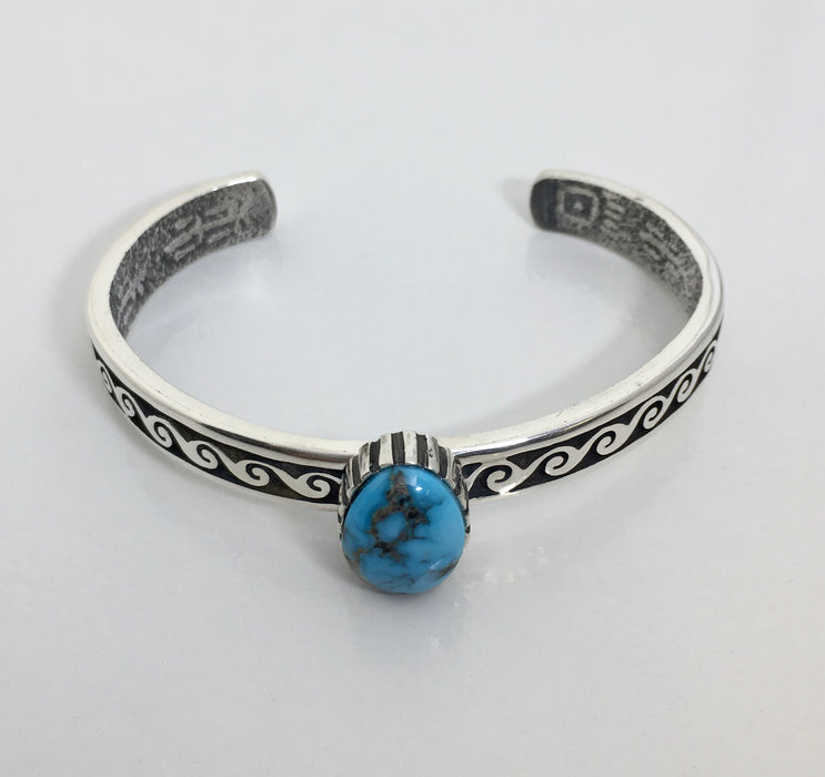 Hopi Silver Bracelet, with Apache Blue Turquoise, Mimbres Inspired Design, by Gerald Lomaventema