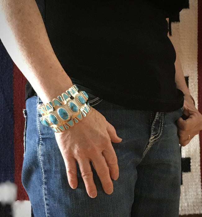 Morenci Turquoise and Silver Cuff Bracelet, by Vernon Haskie