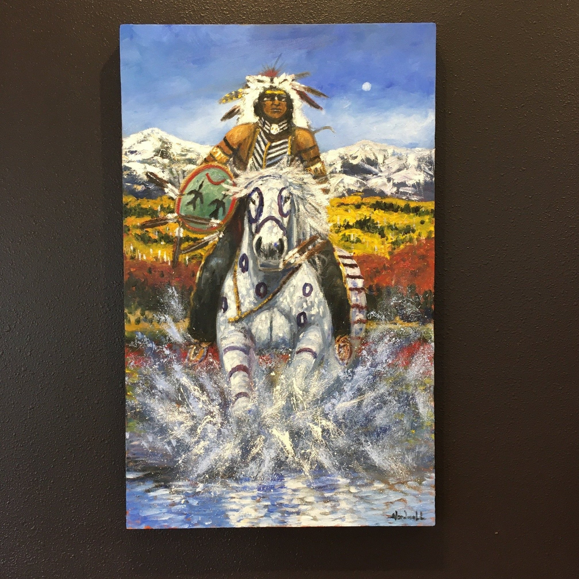 Water Protector Native American Painting, by American Indian Artist, Raymond Nordwall, at Raven Makes Gallery