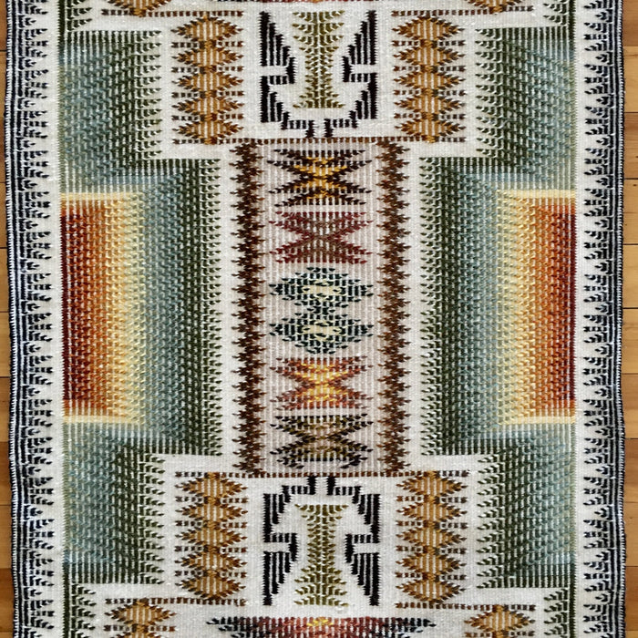 Navajo Rug, Raised Outline, at Raven  Native American Art Makes Gallery