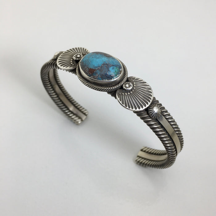Bisbee Turquoise and Silver Bracelet, by Ivan Howard