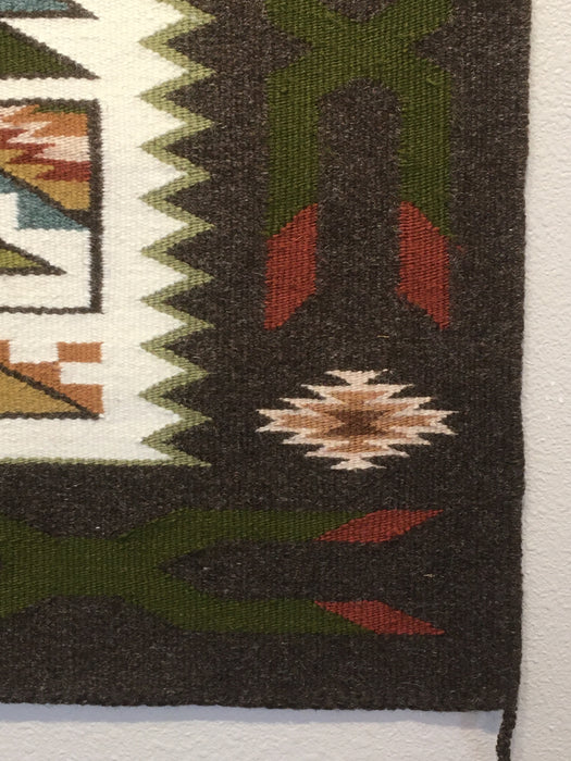 Teec Nos Pos Navajo Rug with Earth Tone Colors, by Irene Littleben