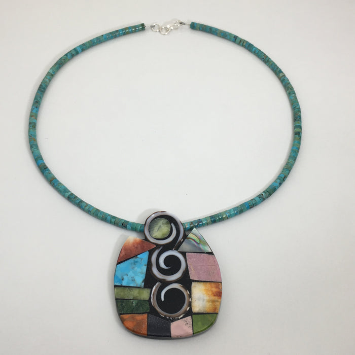 Mosaic Inlay Necklace, by Mary L. Tafoya