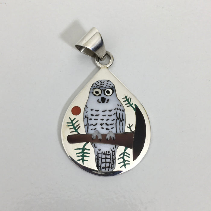 Inlaid Owl Silver Pendant, by Nancy and Ruddell Laconsello