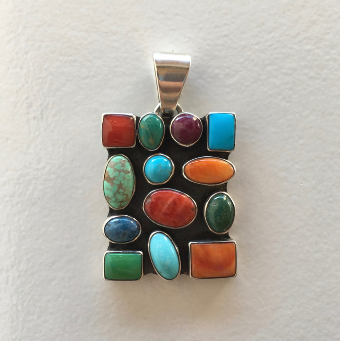 "Multi-Stone ""Stained Glass"" Pendant, by Dee Nez"