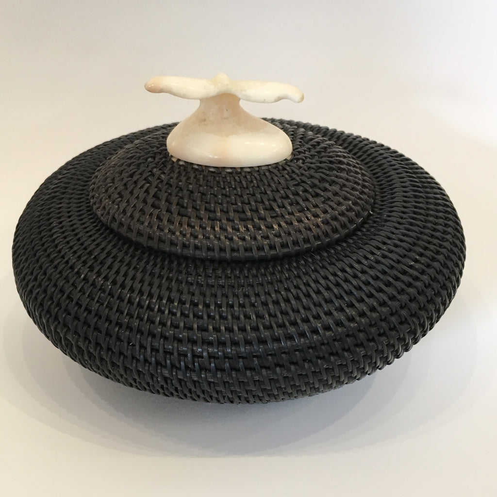Baleen Basket with Walrus Ivory Finial, by Don Johnston
