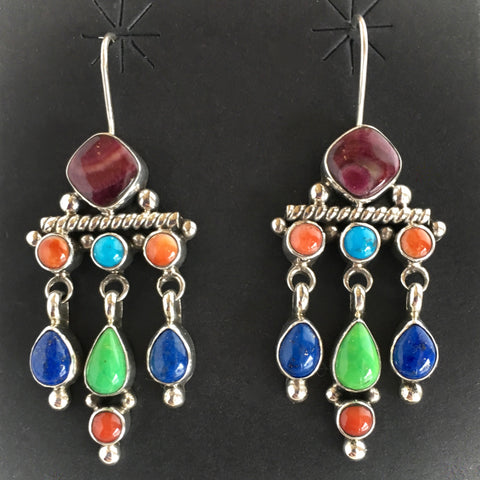 Dangle Cluster Earrings, by Dee Nez, Navajo