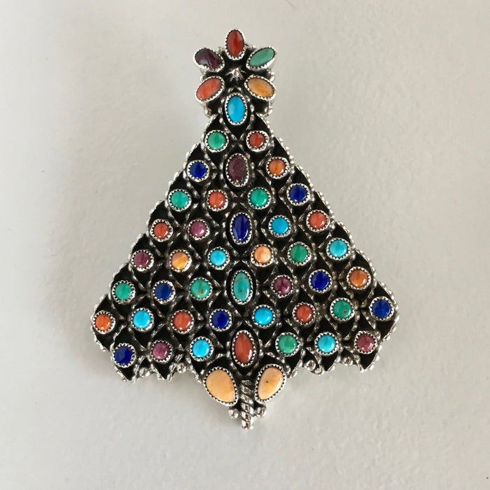 Precious Stones and Sterling Silver Christmas Tree Pin, by Dee Nez
