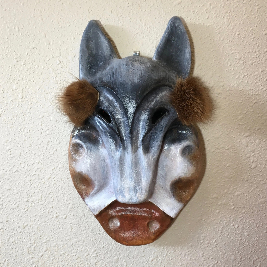 Man with Wolf Mask and Labrets Ceramic Mask, by Terresa White