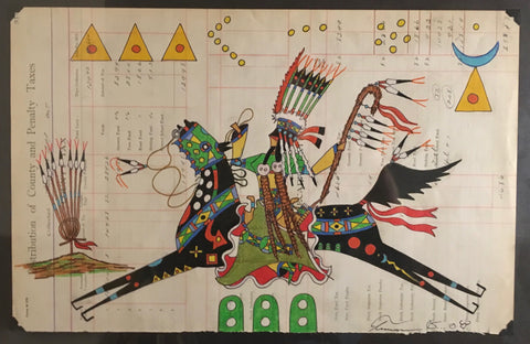 Ledger Art,  by Terrance Guardipee, Blackfeet, at Raven Makes Gallery