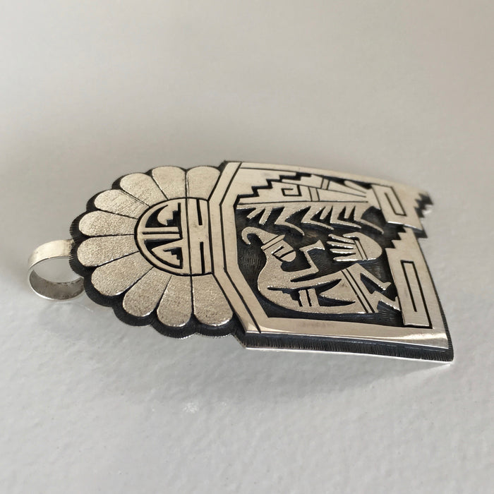 Kokopelli Brings the Spring, Hopi Silver Pendant,  by Berra Tawahongva