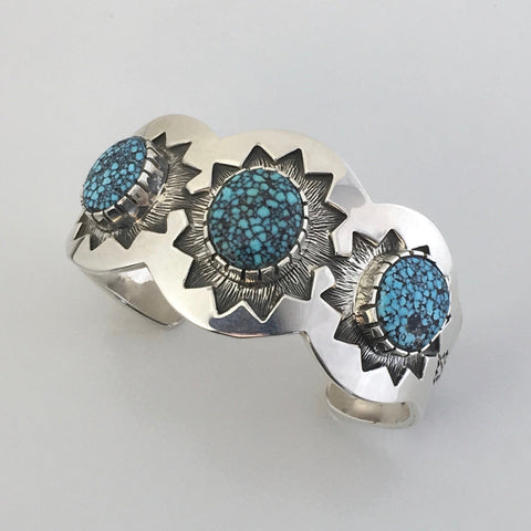 Spider Web Kingman Silver Cuff, by Fortune Huntinghorse, at Raven Makes Gallery