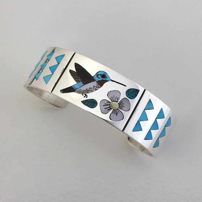 Hummingbird and Flower Inlay Silver Cuff,  by Nancy and Rudell Laconsello