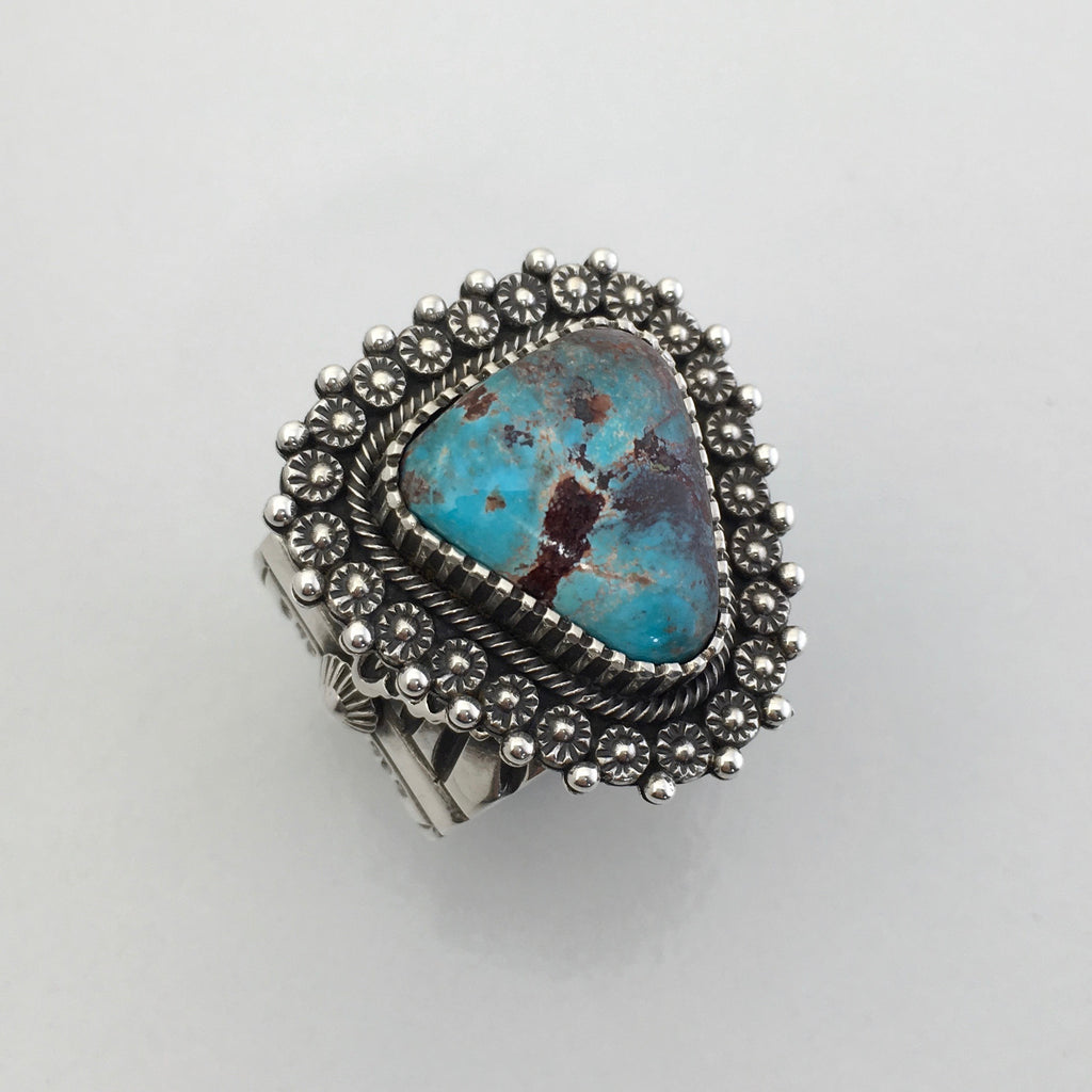 Lavender Pit Bisbee Turquoise and Silver Ring, by Ivan Howard