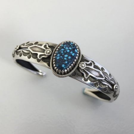 Spiderweb Kingman Turquoise and Silver Slender Cuff Bracelet, by Ivan Howard
