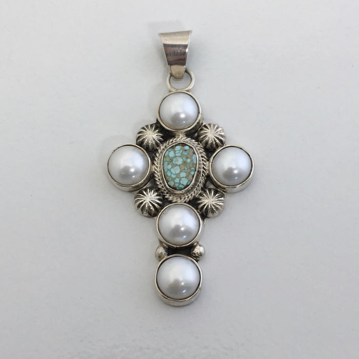 Turquoise and Pearls Cross Pendant, by Erick Begay