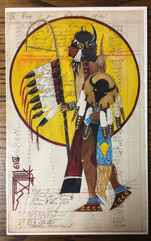 Song for the Buffalo, Plains Ledger Art, by Joe Pulliam