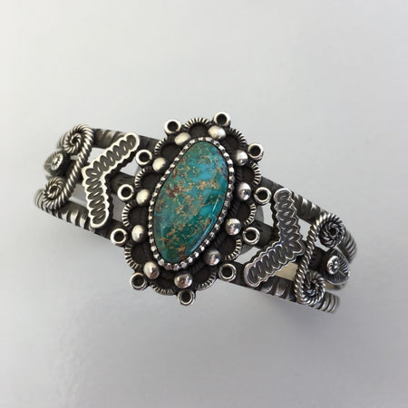 High Grade Bisbee and Silver Bracelet, by Ivan Howard