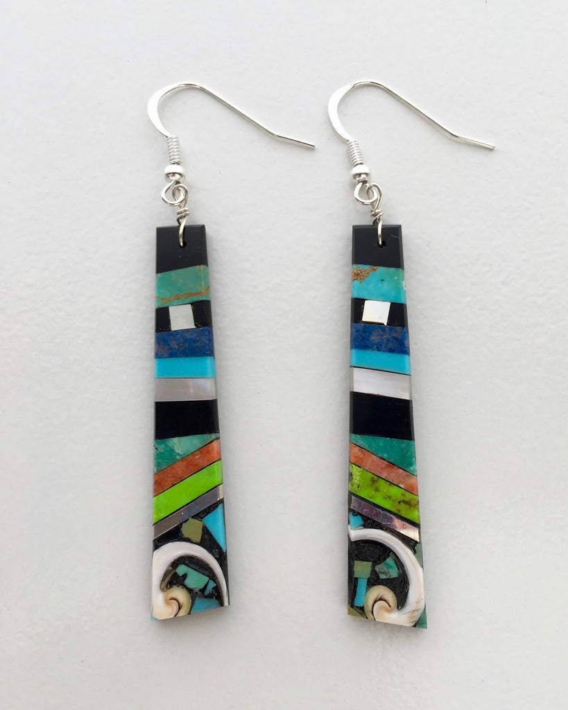 Mosaic Earrings, by Warren Nieto, Inlayed Turquoise and stones